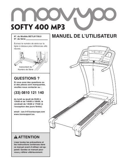 moovyoo softy 400 mp3 manuel d installation t 233 l 233 charger pdf tapis de course francais