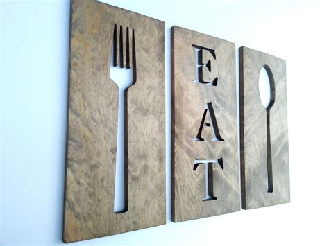 36 kitchen fork spoon and eat wooden by timberartsigns