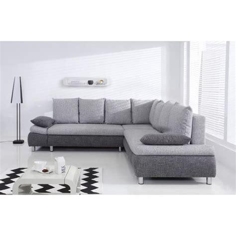 naho canap 233 d angle xl convertible 6 places 265x265 cm gris et gris clair achat vente