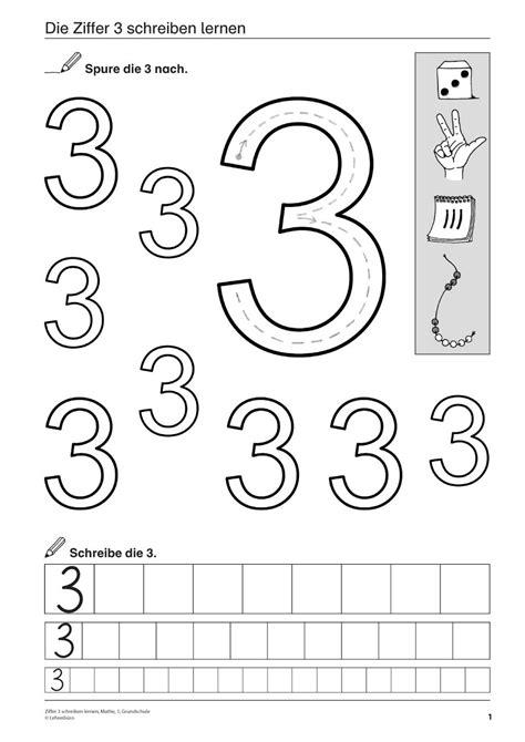 Ziffer 3 schreiben lernen, Mathematik, 1 Klasse und