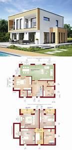 Stadtvilla Mit Anbau : bauhaus stadtvilla modern mit flachdach und erker anbau einfamilienhaus grundriss evolution ~ Markanthonyermac.com Haus und Dekorationen