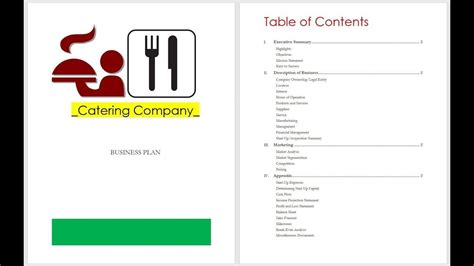 Catering Business Plan Table Of Contents
