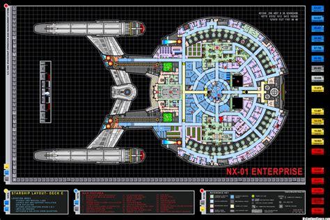 colored schematic of deck e columbia class starship u s