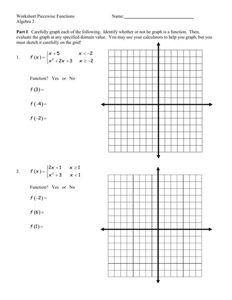Worksheet Piecewise Functions Algebra 2 Answers Worksheets For All  Download And Share