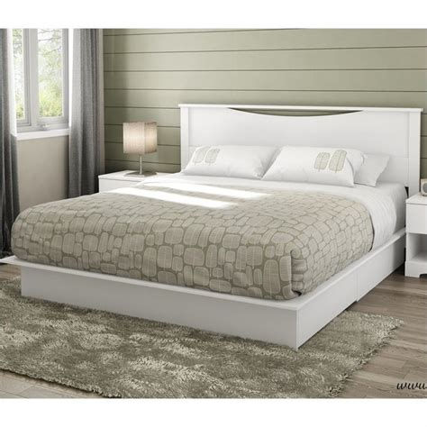 south shore step one king platform w headboard drawers white bed ebay