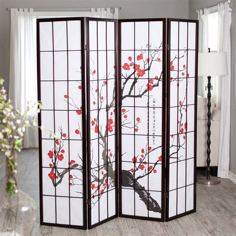 Cherry Blossom Rosewood 4 Panel Room Divider Room