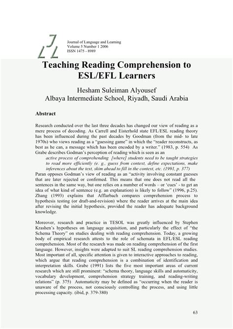 (pdf) Teaching Reading Comprehension To Eslefl Learners