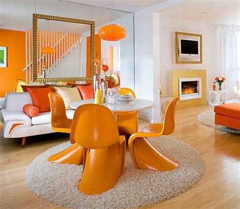 White And Orange Living And Dining Room  Decoist