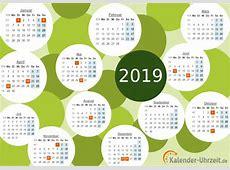 Calendário 2019 para impressão