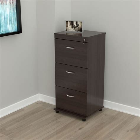 Threedrawer Espresso Locking File Cabinet  Ebay