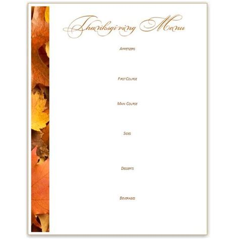Thanksgivng Dinner Pages Template by 8 Best Images Of Printable Thanksgiving Menu Blank