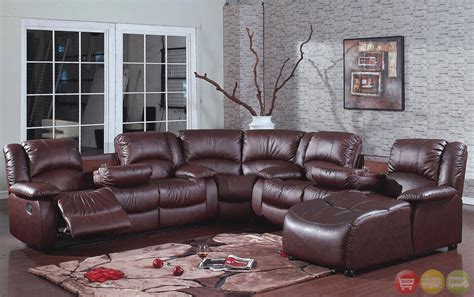 brown bonded leather reclining sectional w chaise storage consoles