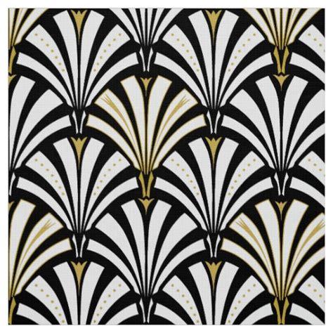 deco fan pattern black and white fabric zazzle