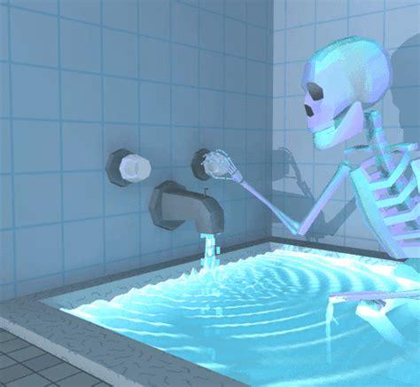 squelette eau baignoire salle de bain image gif anim 233