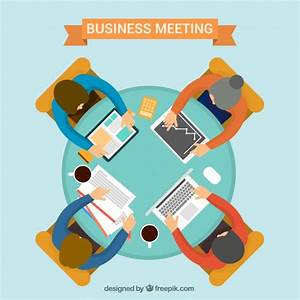 Business meeting with round table Vector   Free Download