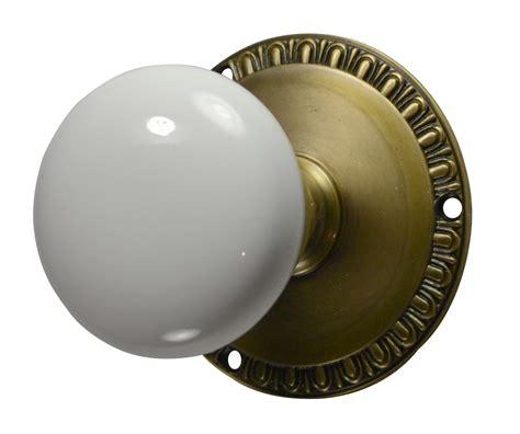antique brass door knobs egg dart white porcelain door knob antique brass finish
