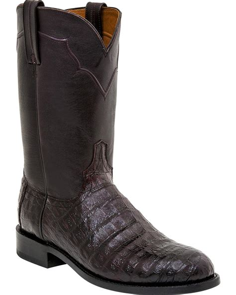 Round Belly Boat by Lucchese Men S Dustin Belly Caiman Roper Boot Round Toe