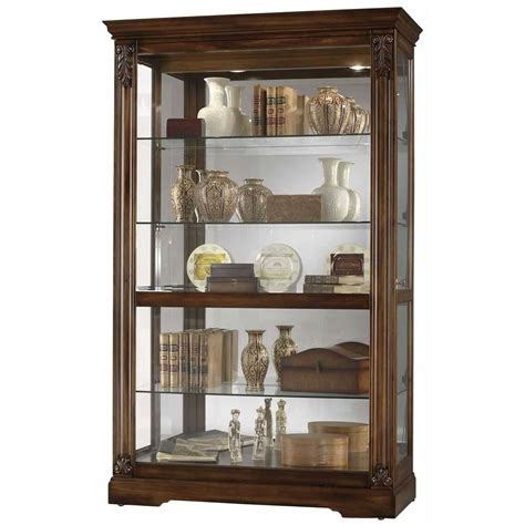 howard miller large cherry curio display cabinet glass 680473 ramsdell