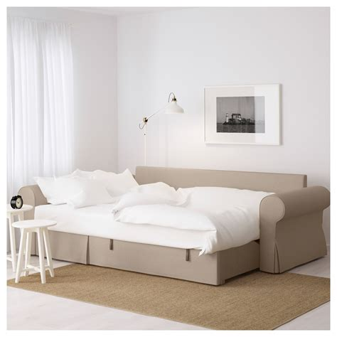 Backabro Sofa Bed With Chaise Longue Hylte Beige Beige