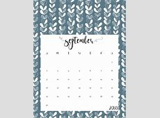 Cute Free Printable September 2018 Calendar Calendar