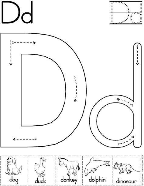 Alphabet Letter D Worksheet  Preschool Printable Activity  Standard Block Font Early
