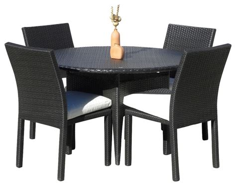 Outdoor Wicker New Resin 5 Piece Round Dining Table and Chair Set   Contemporary   Outdoor