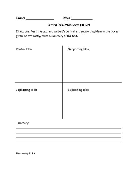 6th Grade Common Core  Reading Informational Text Worksheets