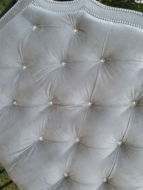 tufted headboard king gray velvet