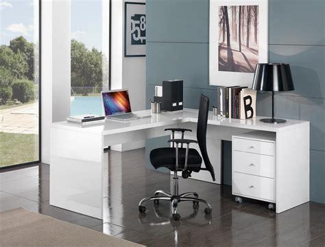bureau d angle design avec caisson coloris blanc laqu 233 s 233 vina bureau