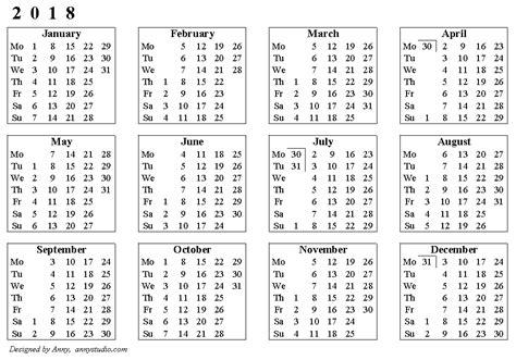 25 Free Professional Calendar Templates For 2018