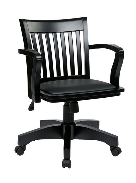 deluxe wood banker s chair with vinyl padded seat in black finish with black vinyl ergoback