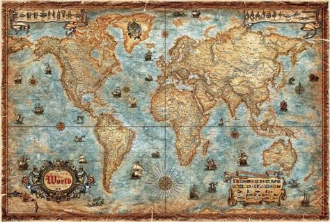 rayworld company carte murale le monde antique style carte de plastifi 233 e en