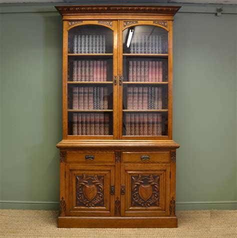 Quality Solid Oak Victorian Antique Bookcase On Cupboard