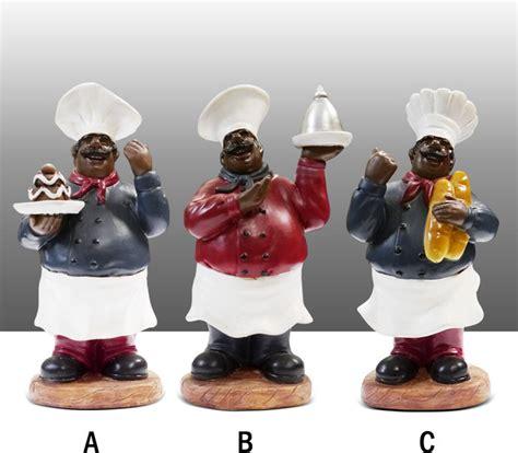 black chef kitchen statue figure table decor complete