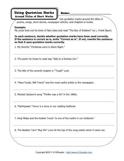 Quotation Marks  Free, Printable Punctuation Worksheets