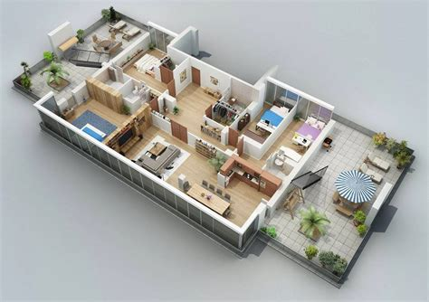 3d Design : Apartment Designs Shown With Rendered 3d Floor Plans
