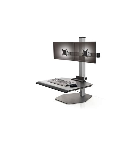 stand up dual monitor station dual freestanding sit stand kos ergonomics dublin ireland