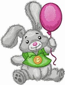 Bunny with Balloons embroidery design