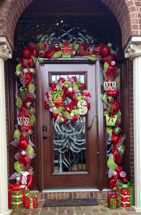 deco mesh garland around front door deco mesh front doors and front