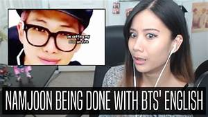 BTS CRACK REACTION (namjoon being done with bts' english ...