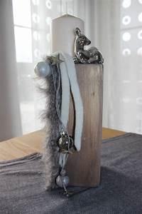 Adventskranz Edelstahl Dekorieren : s ule als tischdeko dekoriert mit einem kunstfellband kugel reh und einer kerze preis 34 90 ~ Markanthonyermac.com Haus und Dekorationen