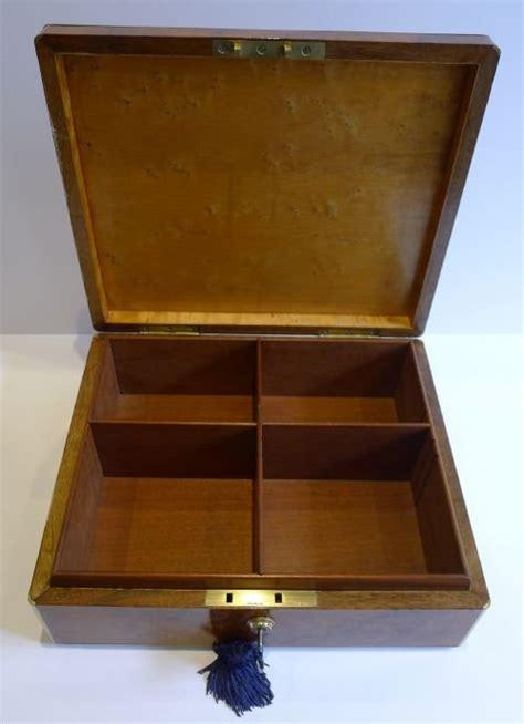 antique brass bound burl walnut cigar box cabinet humidor c 1860 161185