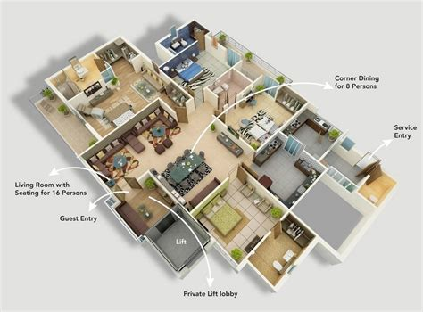 """8 Room House Design : 50 Four """"4"""" Bedroom Apartment/house Plans"""