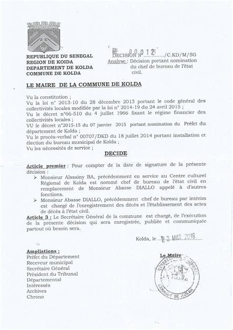 notification de la d 233 cision portant nomination du chef du bureau de l 233 tat civil de kolda par mr