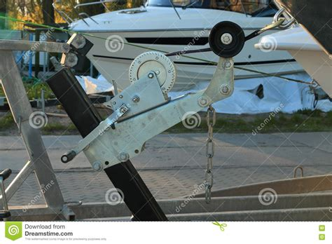 Boat Hand Winch by Hand Winch Of The Boat Trailer Closeup Stock Image Image