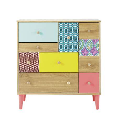 cabinet imprim 233 en bois multicolore l 84 cm bamako maisons du monde