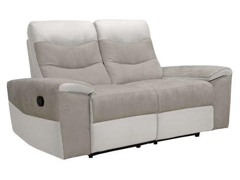 canap 233 fixe relaxation manuel 2 places en tissu foster coloris gris et blanc vente de canap 233
