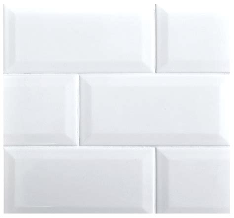 beveled 3x6 subway whisper white glossy ceramic tile