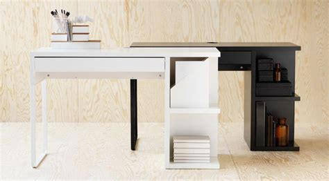 white and black micke desks with integrated storage home school organization