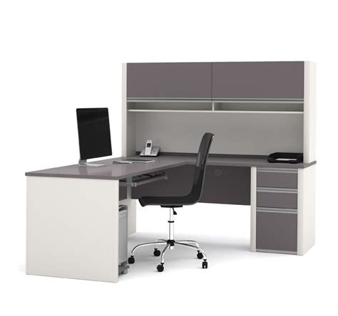 bestar 93859 connexion l shaped office desk w hutch